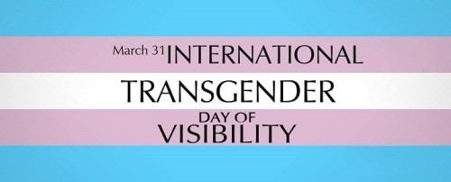 "Blue pink and white striped flag with the words ""March 31, International Transgender Day of Visibility"""