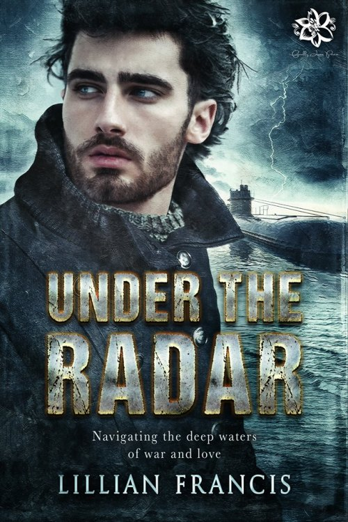 Book Cover showing a young bearded man with the sea and a submarine in the background